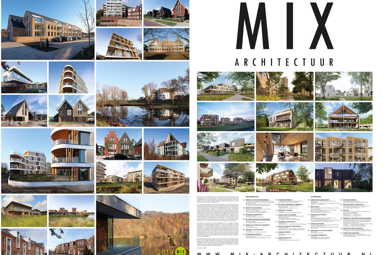 Poster met overzicht van ontwerpen van MIX architectuur in 2019 en 2020.